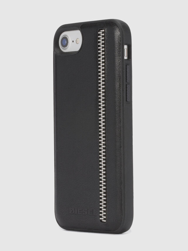 Diesel - ZIP BLACK LEATHER IPHONE 8 PLUS/7 PLUS/6s PLUS/6 PLUS CASE, Schwarz - Schutzhüllen - Image 6