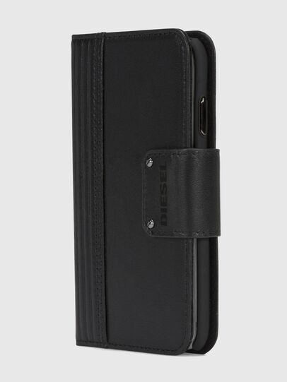 Diesel - BLACK LINED LEATHER IPHONE X FOLIO, Schwarz - Klappcover - Image 3