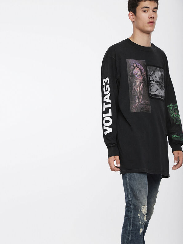 T-LUCAS-LS-XF, Schwarz - T-Shirts