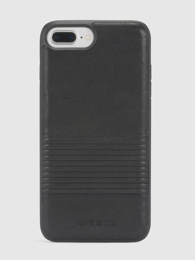 BLACK LINED LEATHER IPHONE 8 PLUS/7 PLUS/6s PLUS/6 PLUS CASE, Schwarz