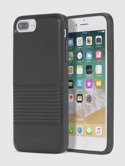 Diesel - BLACK LINED LEATHER IPHONE 8 PLUS/7 PLUS/6s PLUS/6 PLUS CASE, Schwarz - Schutzhüllen - Image 1