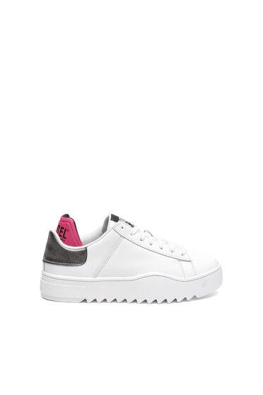 Leder-Sneakers mit Metallic-Kanten
