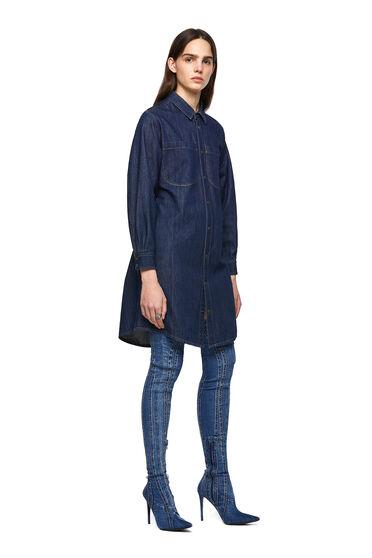 Denim-Shirtkleid mit drapiertem Rücken