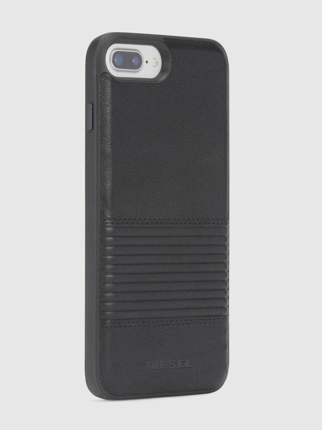 BLACK LINED LEATHER IPHONE 8 PLUS/7 PLUS/6s PLUS/6 PLUS CASE, Schwarz